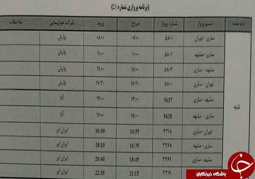 پرواز های شنبه 26 آبان آبان ماه فرودگاه های مازندران