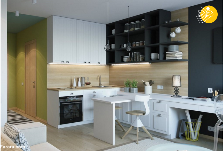 (تصاویر) ایده هایی خلاقانه برای طراحی و دکوراسیون یک آشپزخانه کوچک ترند های رنگی دکوراسیون خانه در سال 2020چگونه خانه های کم نور خود را روشن کنیم؟