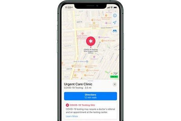 نمایش مکان های تست کرونا در نرم افزار نقشه اپل