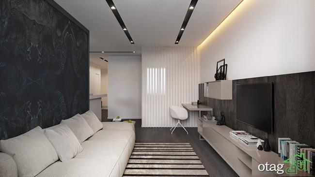 طراحی داخلی آپارتمان شیک تک خوابه همراه با پلان کف سازی